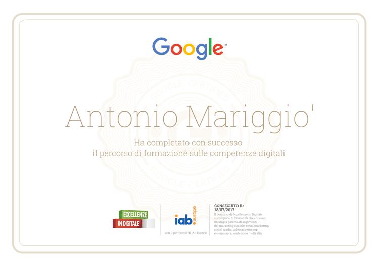 Certificato Eccellenze in Digitale - Antonio Mariggio